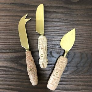 Anthro Carved Wood Cheese Knives